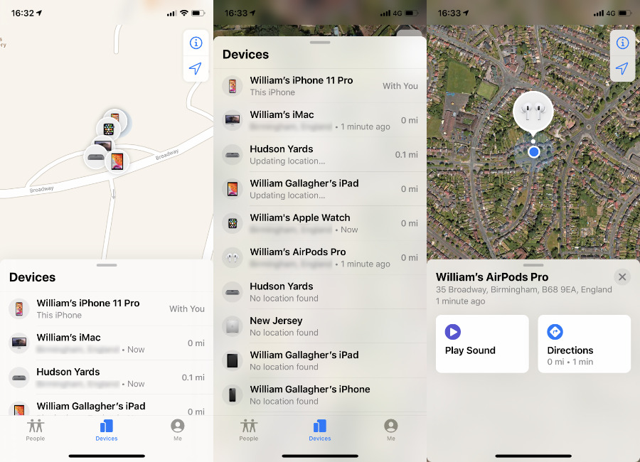 You may have to scroll to find the AirPods listing, but then when you tap on them, you get details of where they are