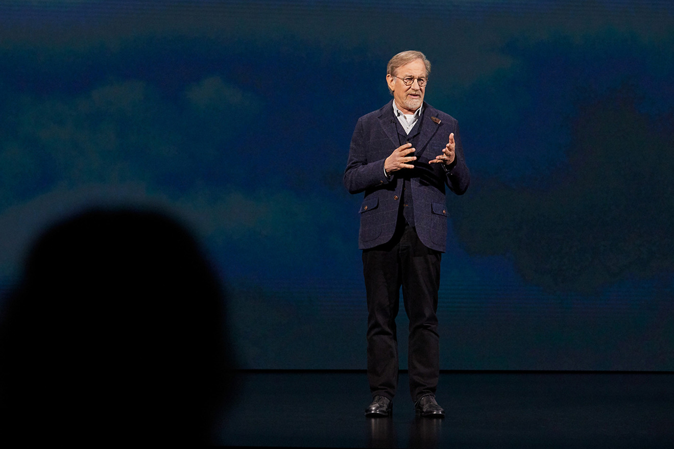 Steven Spielberg at the Apple keynote in Cupertino in the spring of 2019