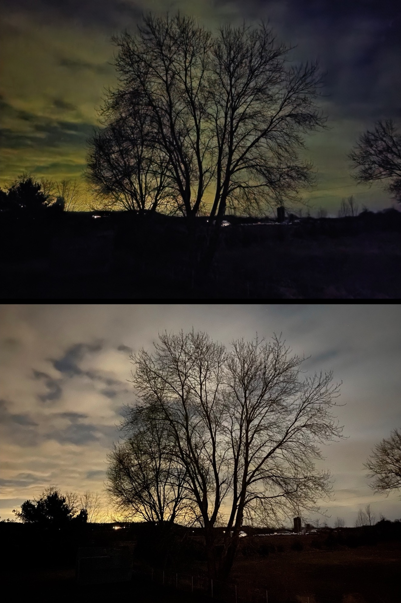 A handheld night shot on the Samsung Galaxy S20 Ultra (top) against the iPhone 11 Pro Max (bottom)