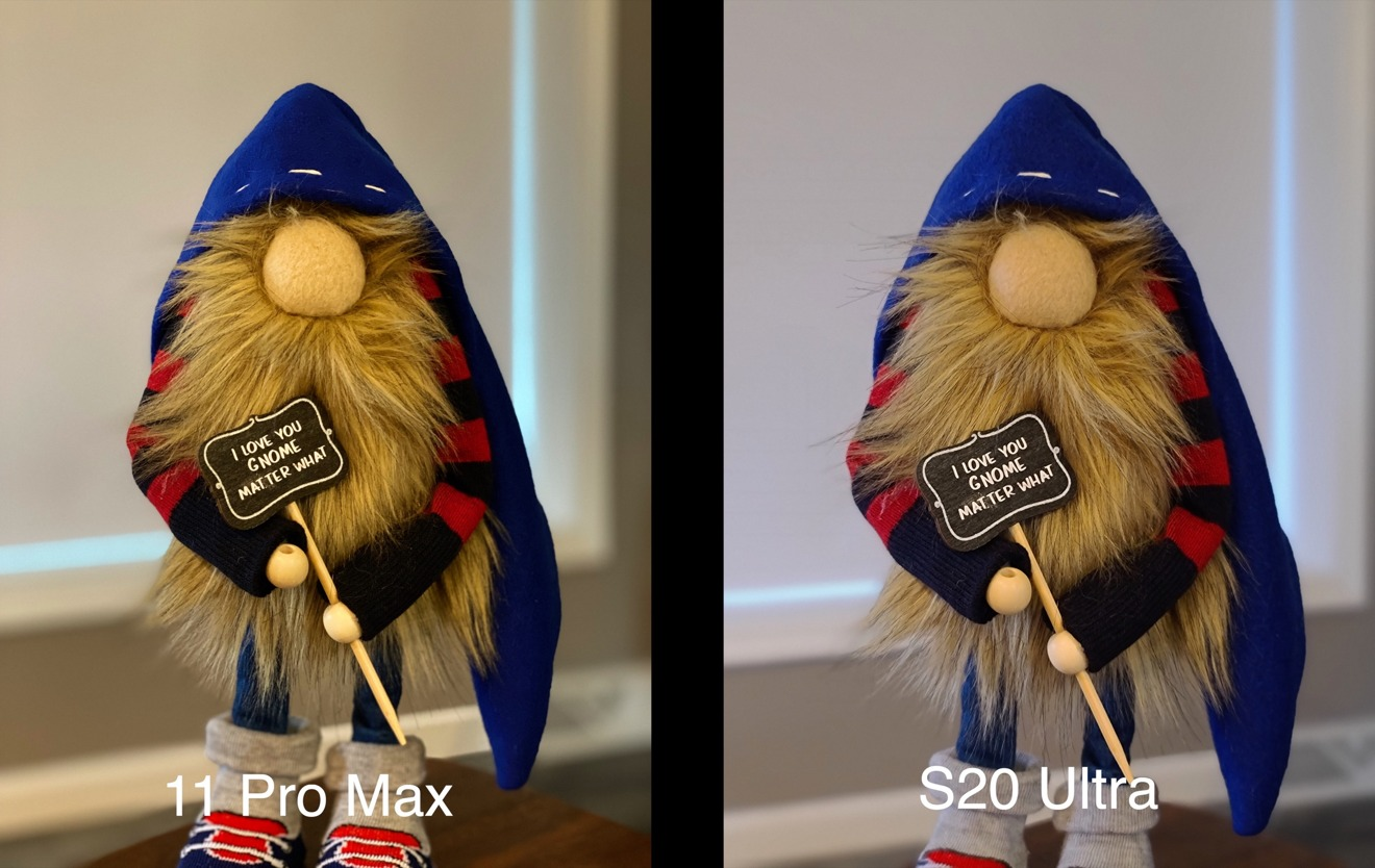 iPhone portrait mode (left) against Samsung's S20 Live Focus (right)