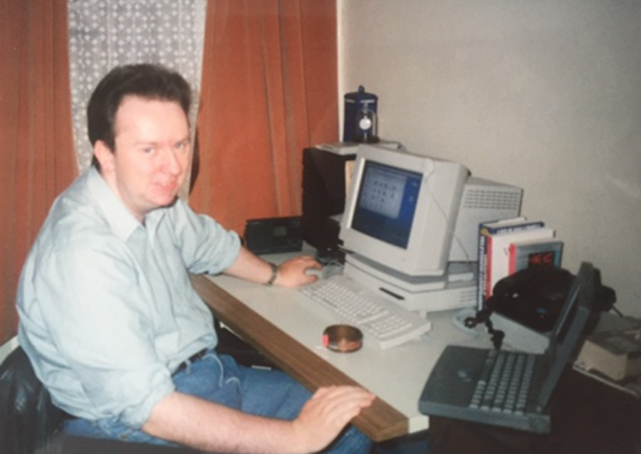 Told you we've done this for decades. Notice the original Macintosh LC and the ancient PowerBook. Don't look at the haircut.