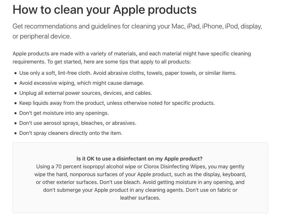Apple's updated cleaning guidelines apparently okay the use of disinfectants.
