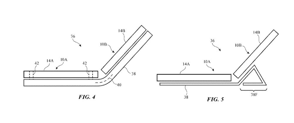 Detail from the patent applications drawings. Notice the Smart Cover-like image in the right hand drawing.