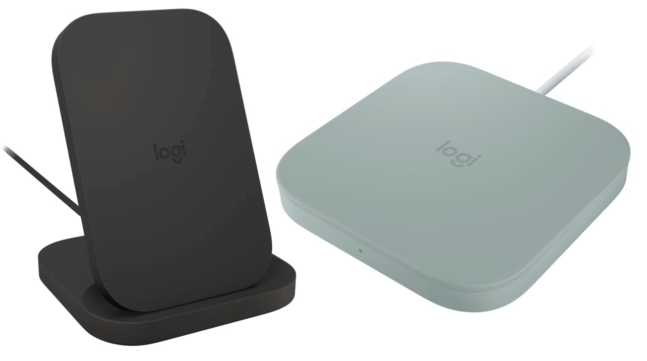 Logitech Powered Wireless Charging Stand and Wireless Charging Pad