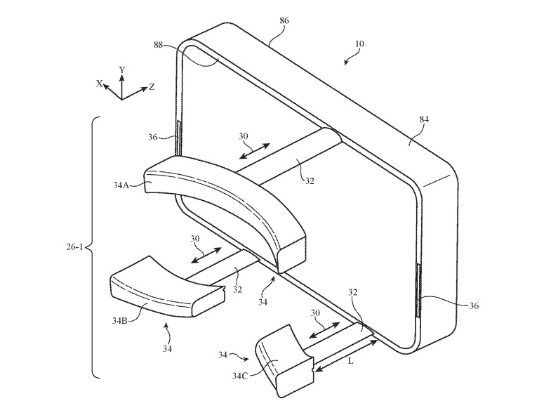 An exaggerated illustration of adjustable elements in a VR headset's frame.