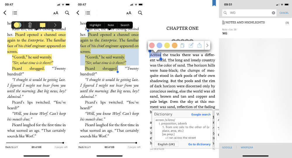 Left: Apple Books has annotation tools but (right) Kindle's are better for searching later