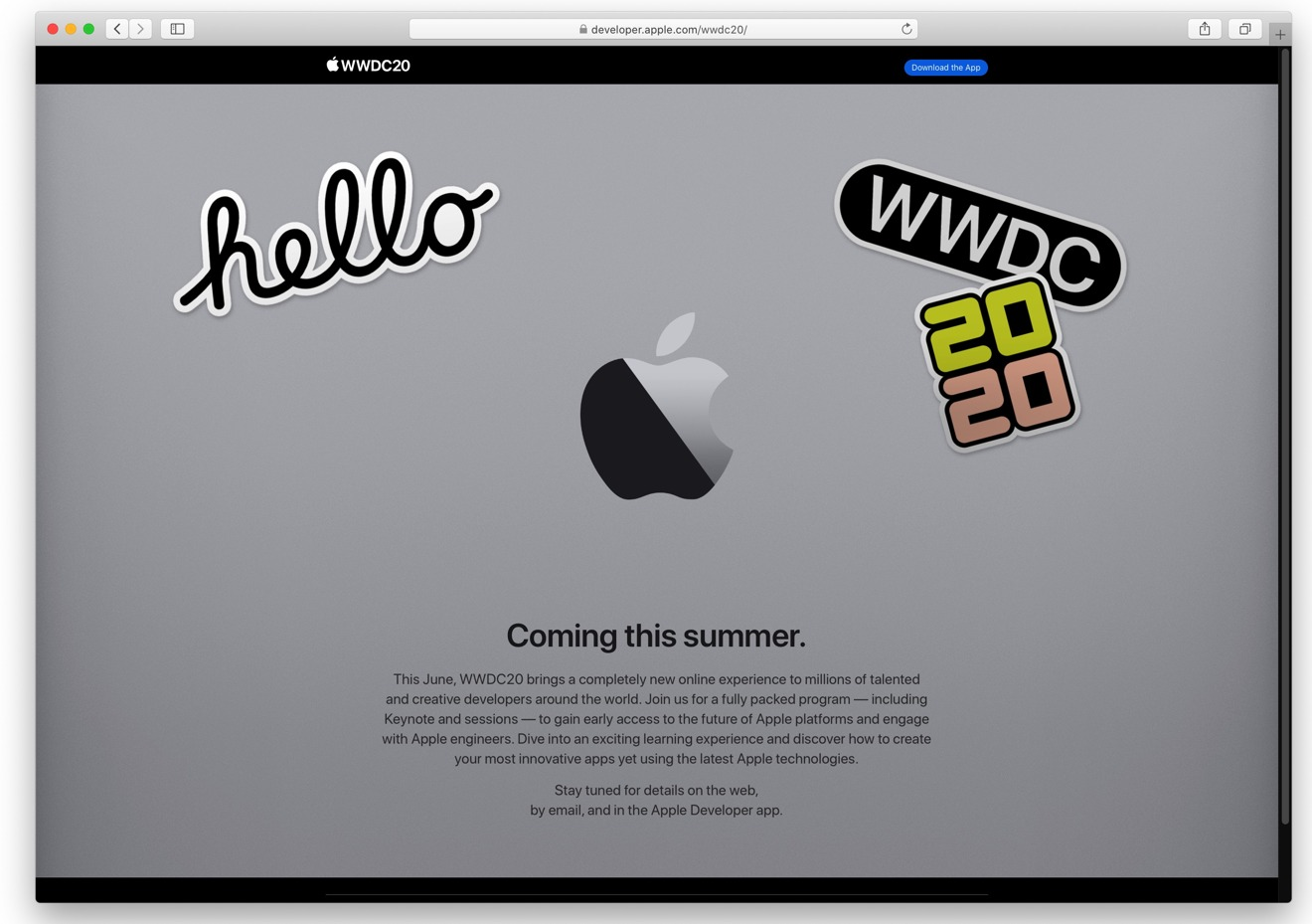 The entire WWDC 2020 page, as of March 13, 2020