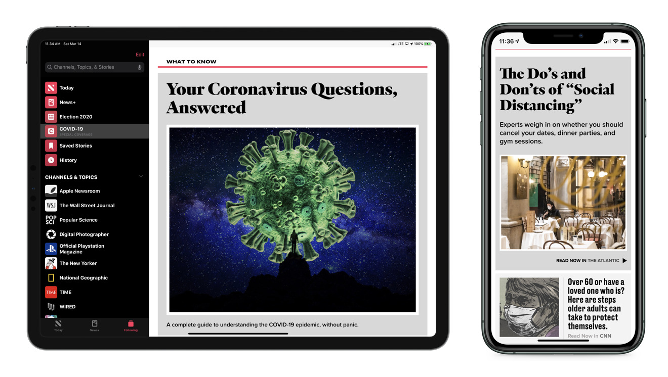 Apple News has a special coronavirus content section