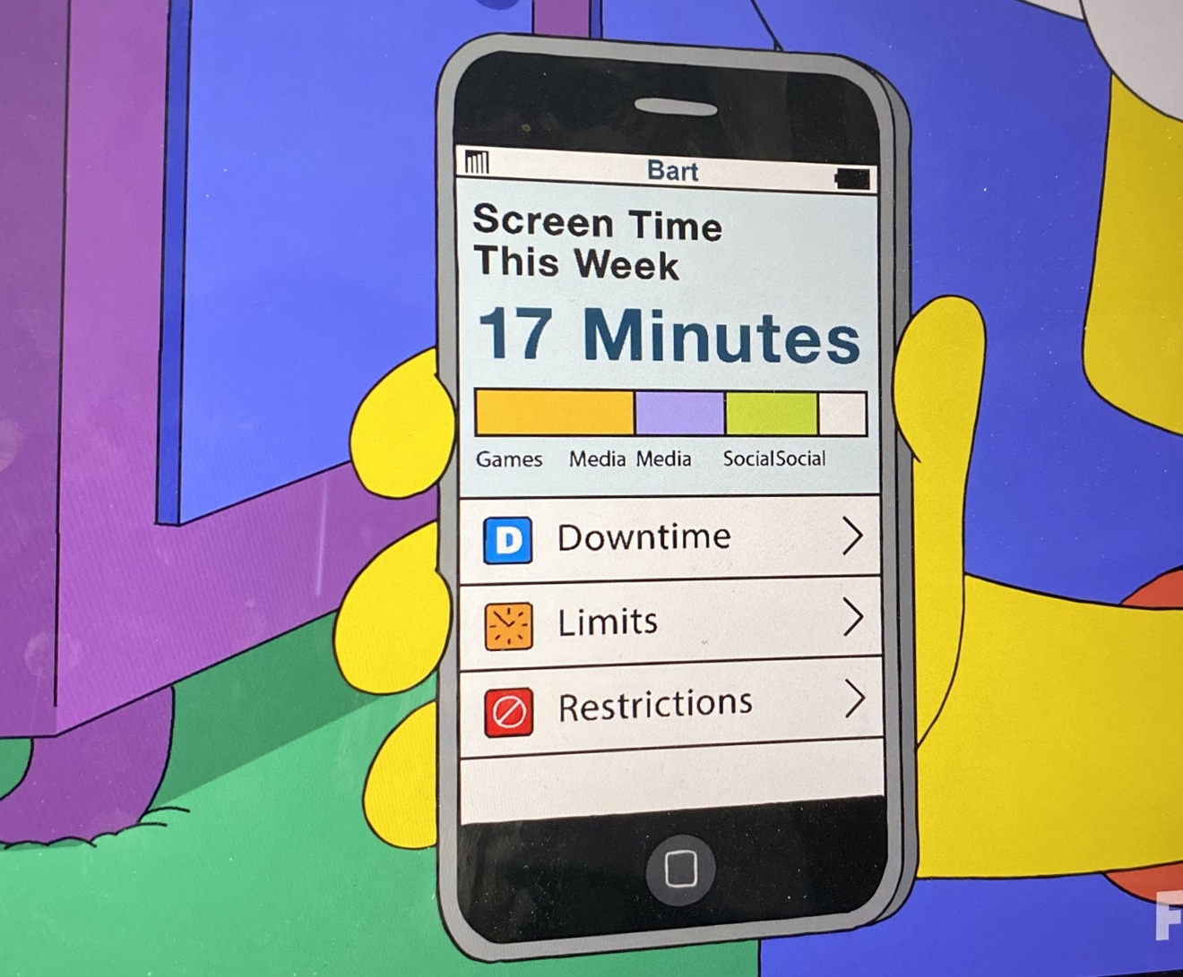Bart's Screen Time report