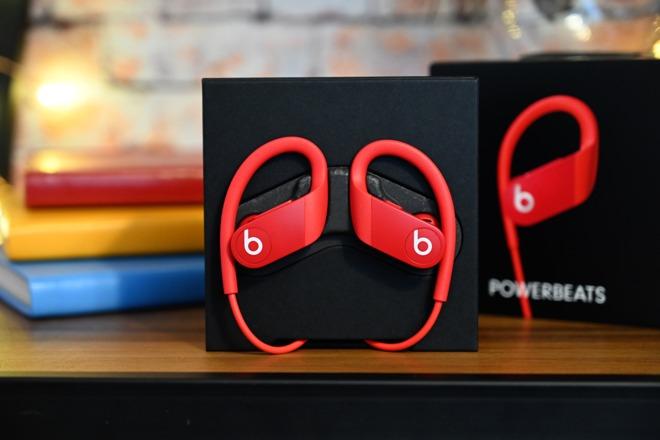 Powerbeats 4 headphones in red