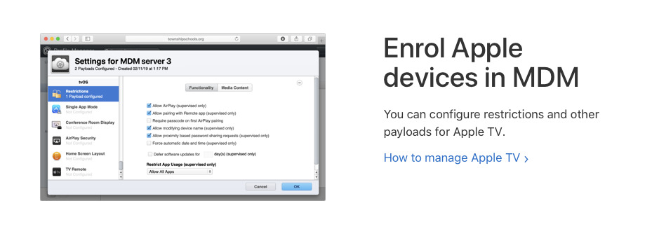 Apple provides a Mobile Device Management system for helping IT staff set up multiple iPads and Macs for remote learning
