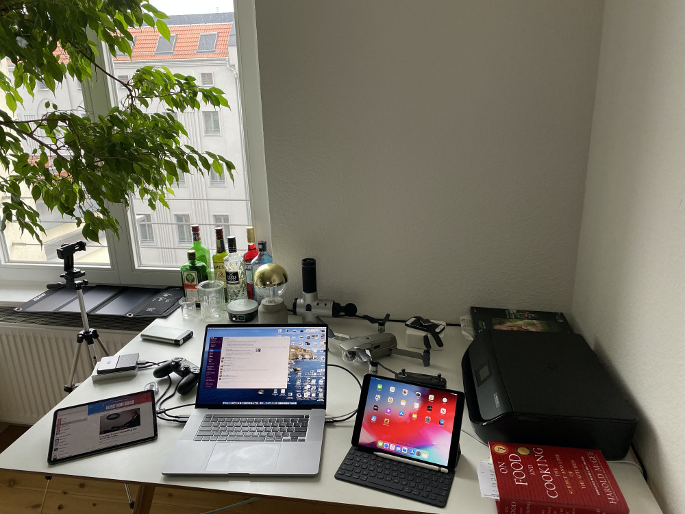 Daniel Eran Dilger's desk must be about two-thirds serious Apple gear, and one-third interesting toys.