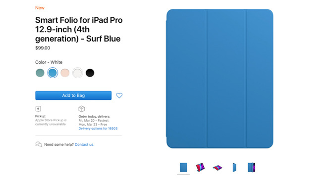 iPad Folio available in Surf Blue