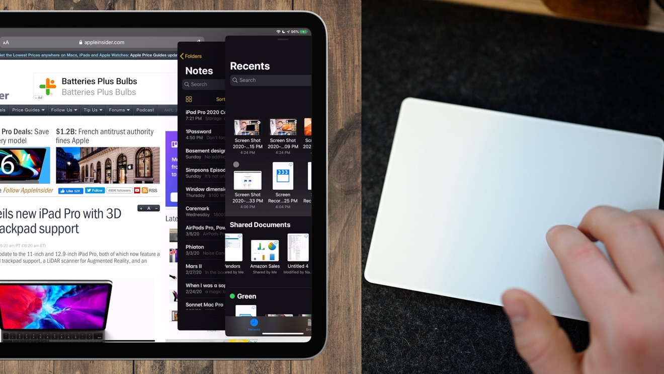 Using the Magic Trackpad 2 to navigate Slide Over apps in iPadOS 13.4