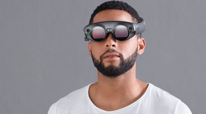 To avoid cumbersome eyepieces, VR head-mounted displays can use mirrors to reflect images. (Shown here: Magic Leap One Lightwear AR goggles.)
