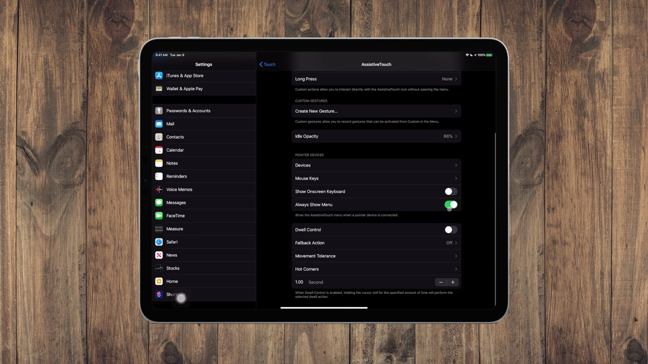 AssistiveTouch settings on iPadOS