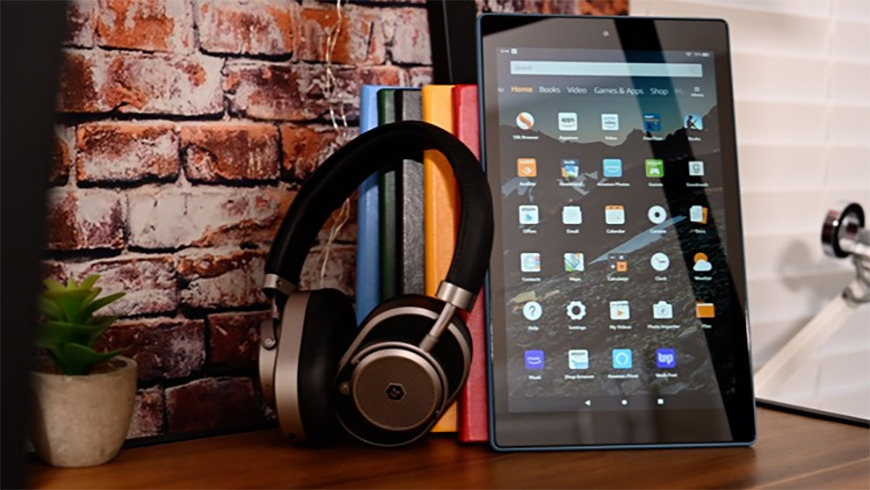 Amazon Fire HD 10 with headphones