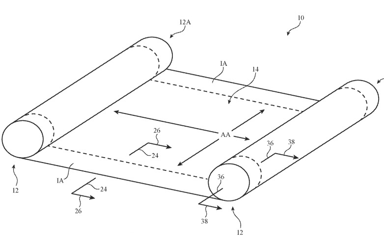 Detail from the patent showing one possible configuration of a rollable screen