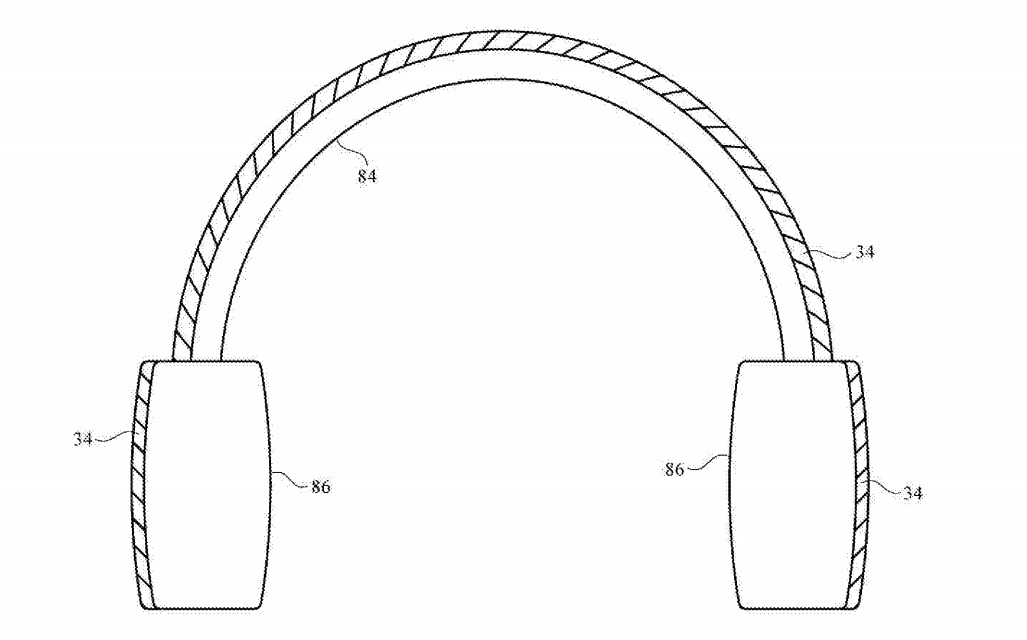 Apple proposes the use of the solar panels on the headband and earcups of headphones.