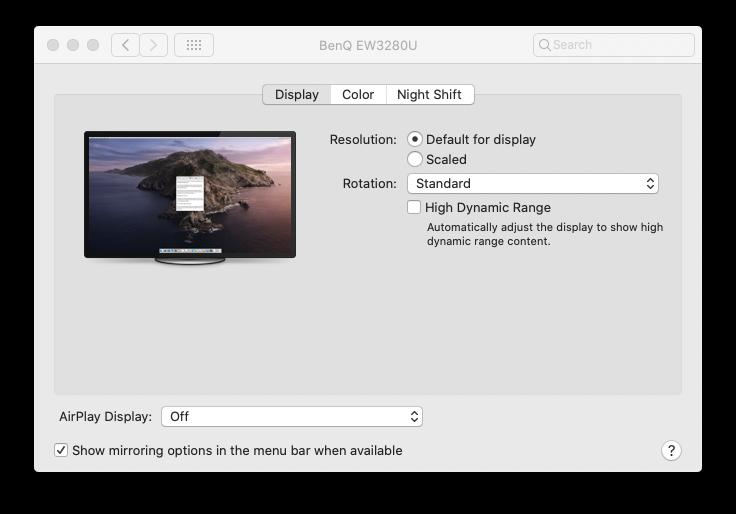 New high dynamic range option in Display settings