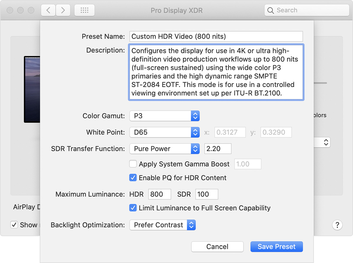 Custom presets for the Pro Display XDR
