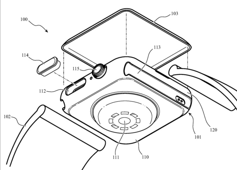 Detail from the patent showing the Apple Watch housing as distinct from the front face