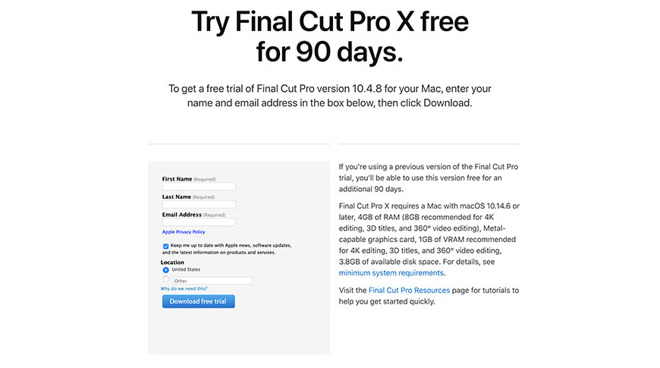 photo of Apple offers free 90-day trials of Final Cut Pro X and Logic Pro X image