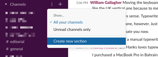 Clicking the three dots will allow you to create a new section in the Slack sidebar.