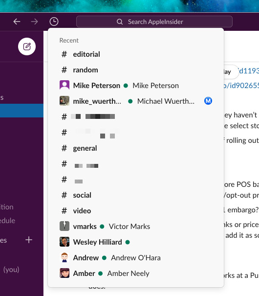 Slack's History provides a list of recent conversations a user has taken part in.