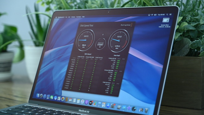 Blackmagic Disk Speed Test results for 2020 MacBook Air