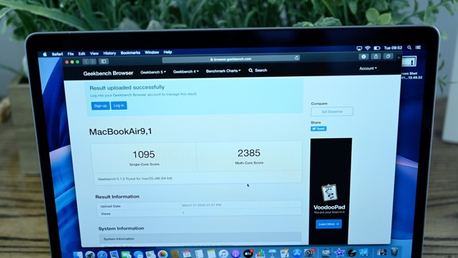 Geekbench 5.1 benchmarks for the 2020 MacBook Air