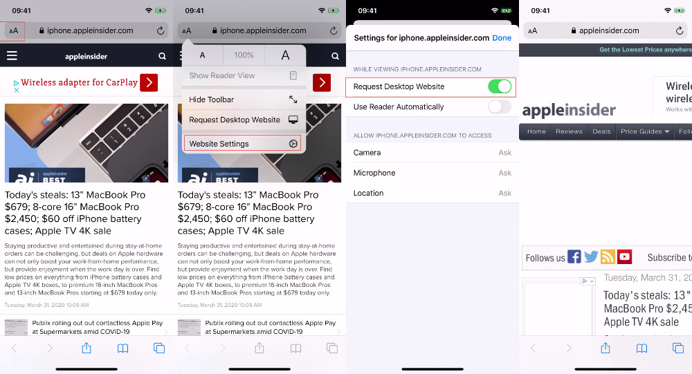 L-R how to tell Safari on iOS to always show the desktop version of the currently-selected site