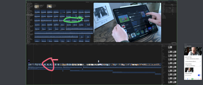 All users in a Screen meeting can highlight the others' displays. Here one person is marking out a point in a Final Cut Pro X timeline (in red) while another is recommending a clip to use next (green)