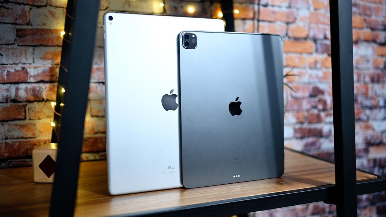 The backs of the 2017 and 2020 12.9-inch iPad Pros