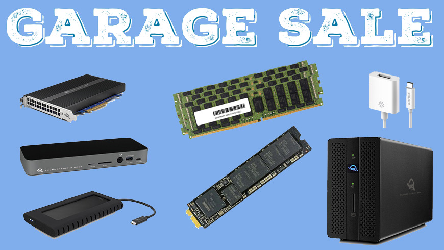 Garage Sale sign with Thunderbolt 3 docks, Mac memory upgrades and storage solutions