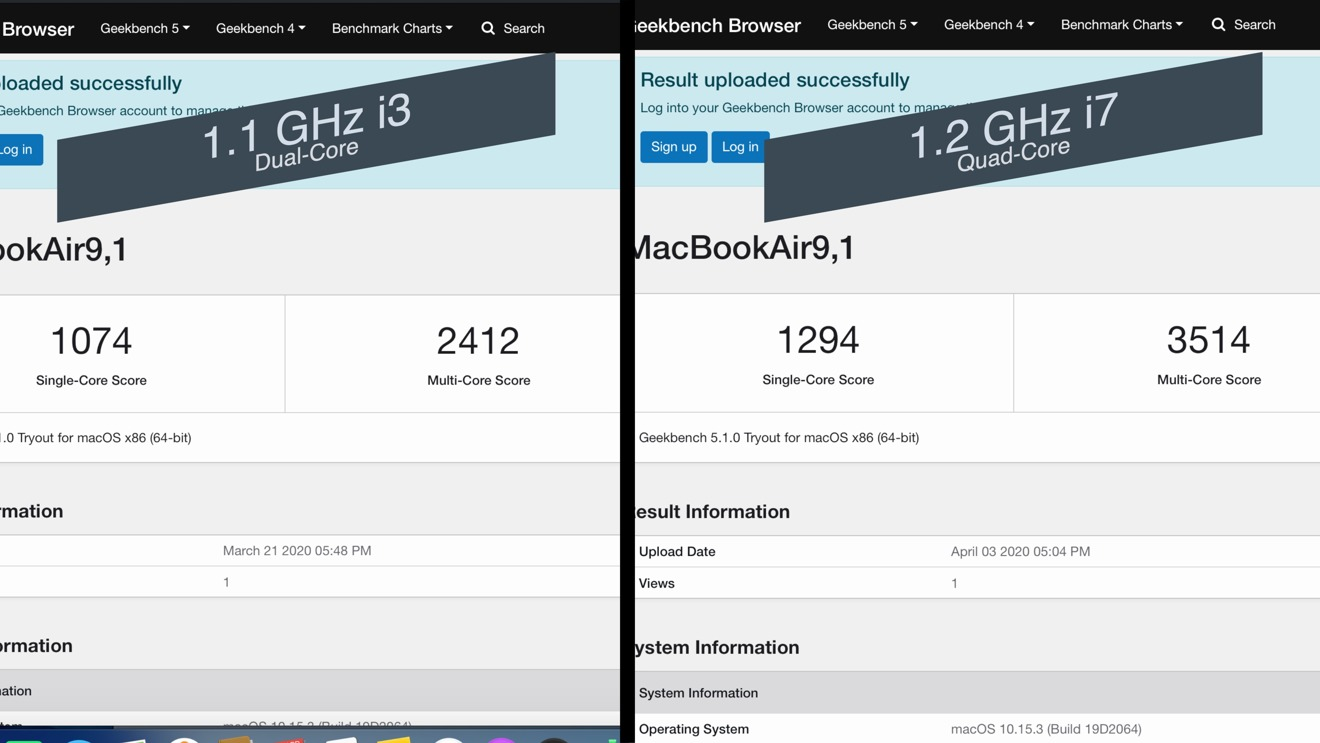 Geekbench 5.1 results on the i3 and i7 MacBook Air (2020)