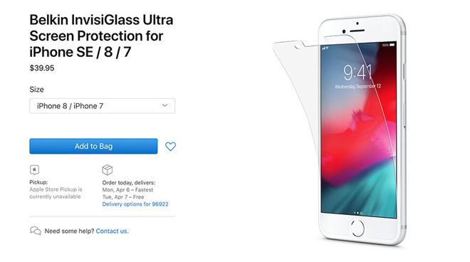An iPhone 8-compatible screen protector was updated to reflect 'iPhone SE' compatibility on Apple's site.