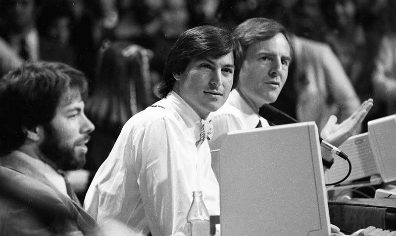 L-R: Steve Wozniak, Steve Jobs, and then-CEO of Apple, John Sculley at the Apple II Forever event
