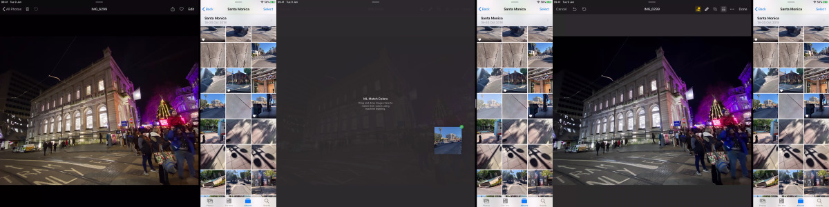 L-R: Dragging an image from Photos into Pixelmator Photo 1.2 and having the ML Match Color feature work automatically