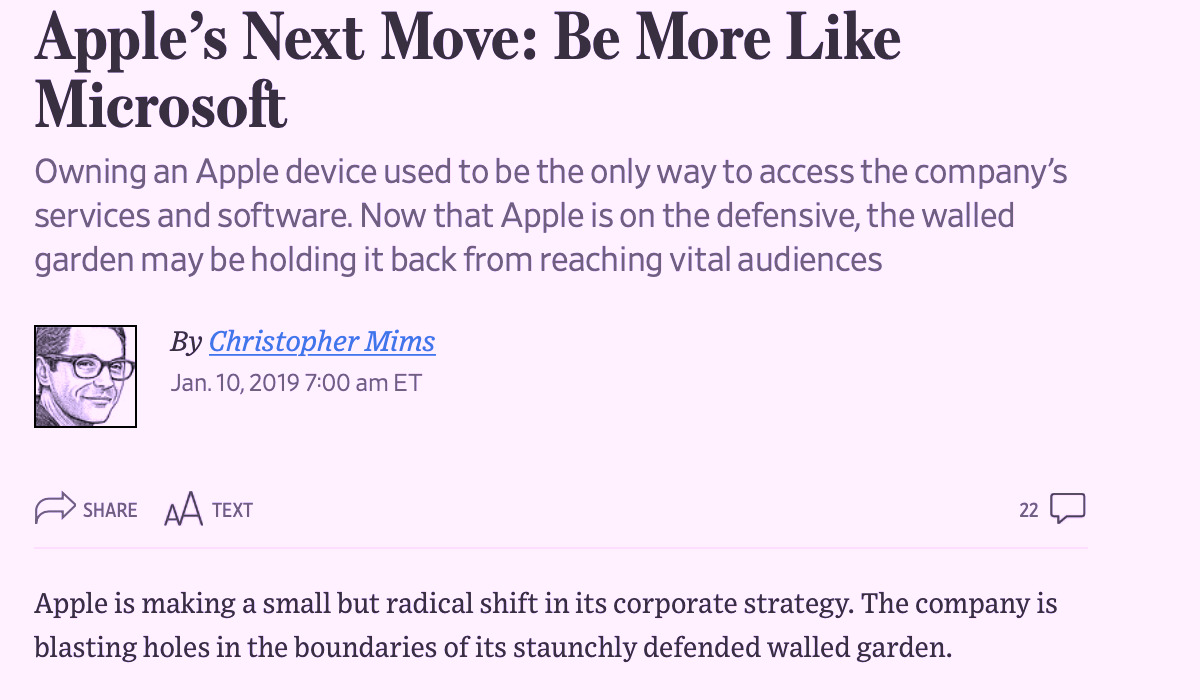 The WSJ incredibly imagined that Apple's Walled Garden was the problem and needed