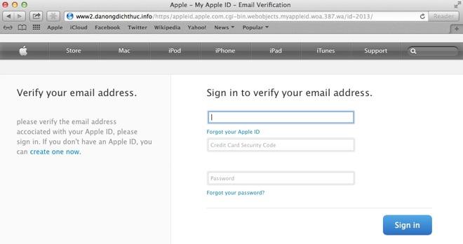 An example of a fradulent Apple phishing page. Credit: Malwarebytes Lab