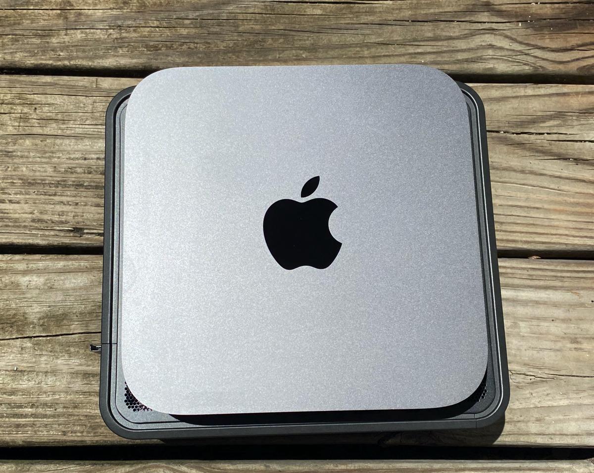 Apple Mac mini stacked on top of an Intel NUC 9 Pro kit