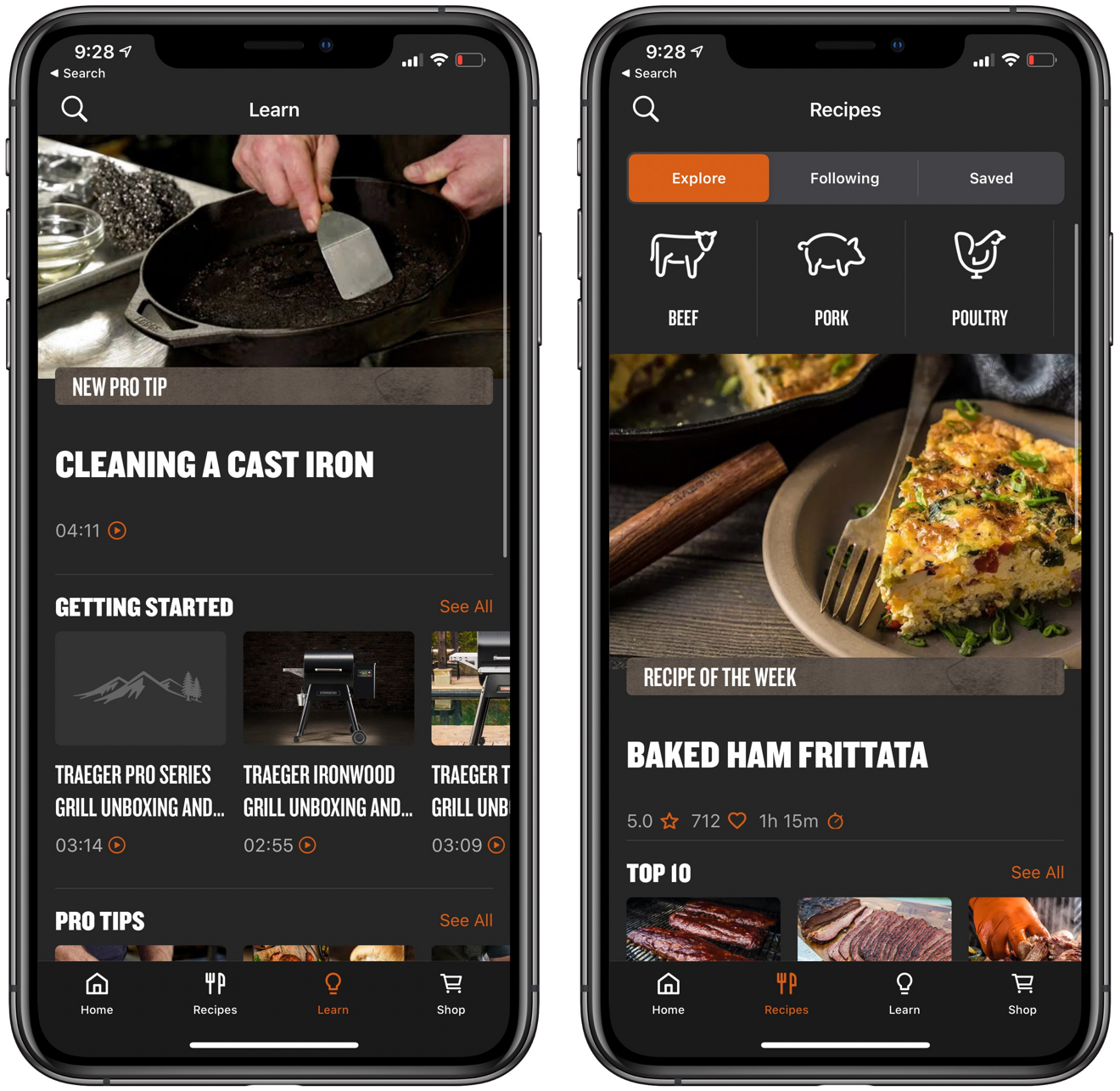Get recipes and tips in the Traeger app