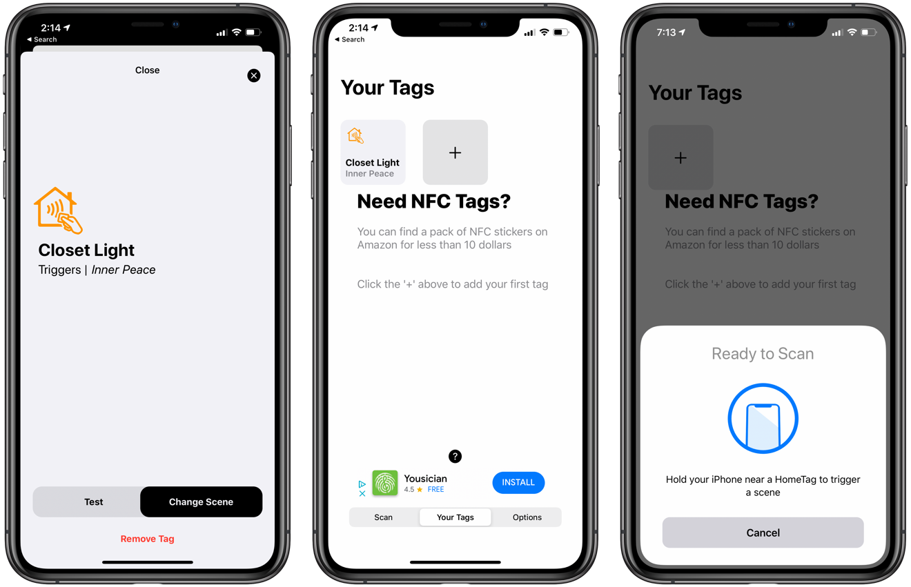 Inside the HomeTags app. Changing a scene (left), viewing existing tags (center), and scanning a new tag (right)