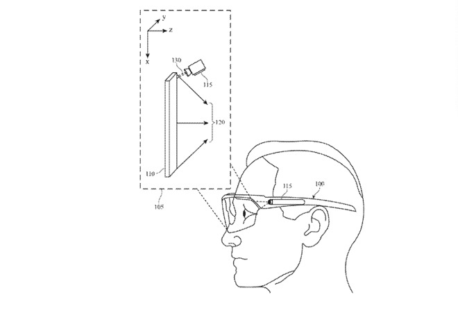 Detail from the patent showing how an optical element can be reflected into the wearer's eyes