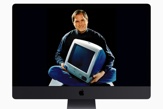 What a difference time makes. Steve Jobs (inset) with the original iMac, as shown on a 2017 iMac Pro.