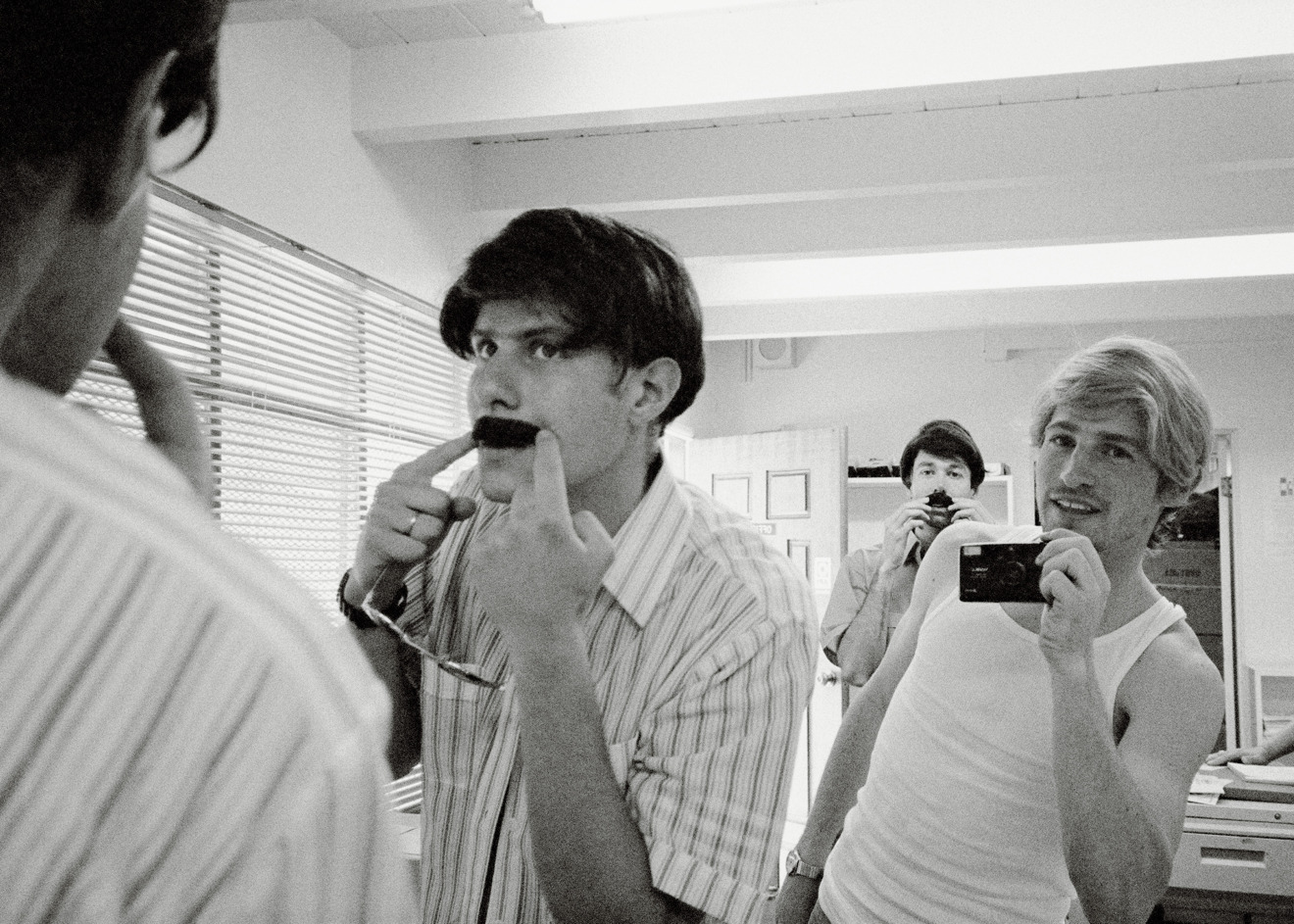Mike Diamond, Spike Jonze and Adam Yauch prepare for the Sabotage music video in a scene from Beastie Boys Story, premiering globally on Apple TV+ on April 24