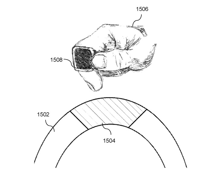 The patent also describes various ways in which a ring could be charged, here including a connector on a car steering wheel