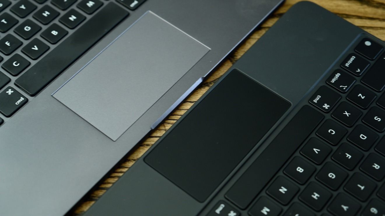 Magic Keyboard trackpad (right) versus Brydge Pro+ trackpad (left)