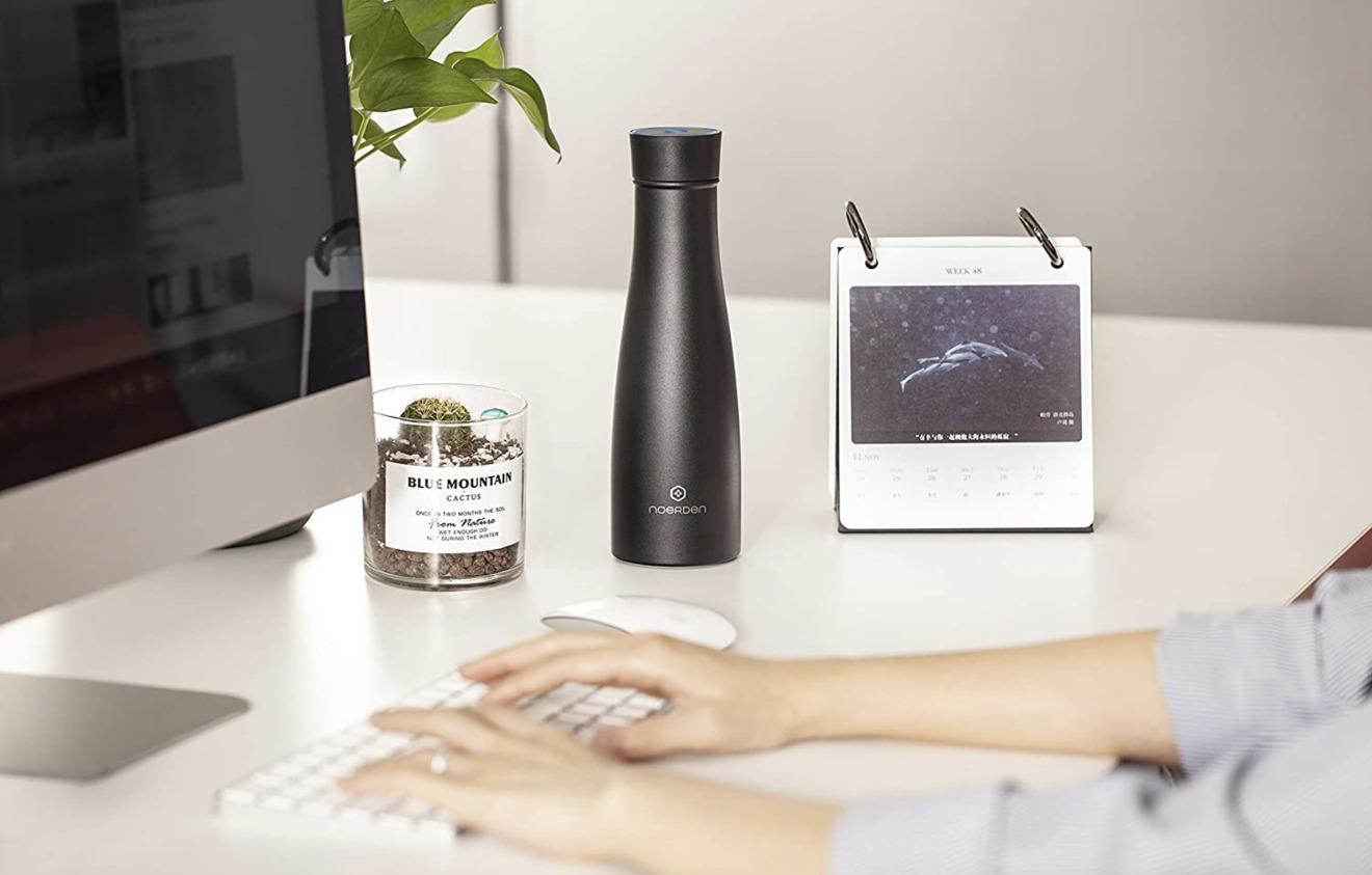 The smart LIZ water bottle can sanitize itself and remind you to drink